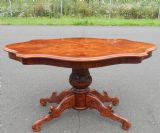 Large Shaped Top Inlaid Walnut Coffee Table